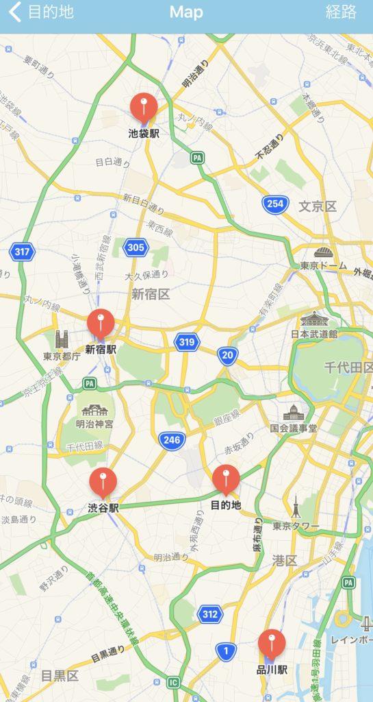 目的地と目印(駅)を同時に地図に表示している例